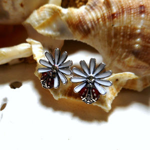 Jewelry - Sterling Silver Daisy and Ladybug Enamel Earrings
